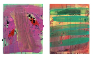 "John and Yoko (diptych.)  2013, acrylic and acrylic spray paint on panel.  Each 14"" x 11""."