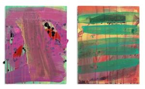 """John and Yoko (diptych.)  2013, acrylic and acrylic spray paint on panel.  Each 14"""" x 11""""."""