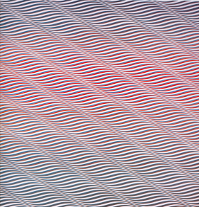 "Bridget Riley, ""Cataract 3.""  1967, PVA on canvas.  87"" x 87-3/4""."