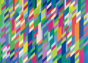 "Bridget Riley, ""In Attendance.""  1994, oil on linen.  89"" x 65""."