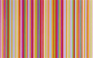 "Bridget Riley, ""Saraband.""  1985, oil on linen.  54"" x 65""."
