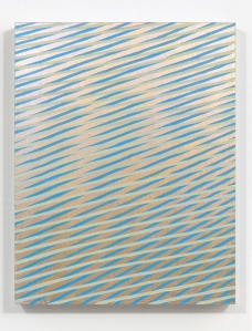 "Reverb.  2013, acrylic , interference, metallic and phosphorescent acrylic on panel.  14"" x 11"" x 2""."