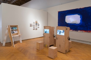 Installation view, Mills College 2014 MFA Exhibition.  2014, mixed media.