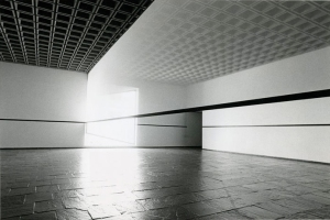 Robert Irwin, Scrim veil—Black rectangle—Natural light. 1977, cloth, metal, and wood. Installation, Whitney Museum of American Art. Overall: 144 × 1368 × 49 inches.