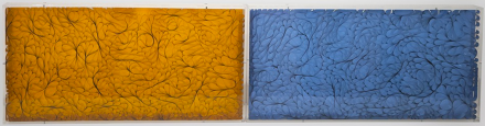 Solids, 2013 Mixed media 12 x 48 inches (early pieces with mylar and light)