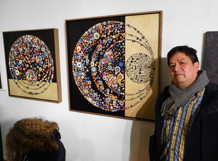 Truong Tran with Black As a Color Is Absolute, #5 and #4 (opening reception for How Touching/In These Times with Mary Burger, Working Space Projects, Jan. 2017 Photo: Alan Bamberger)